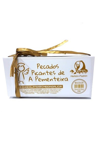 caixa bombons mermelada pemento picante